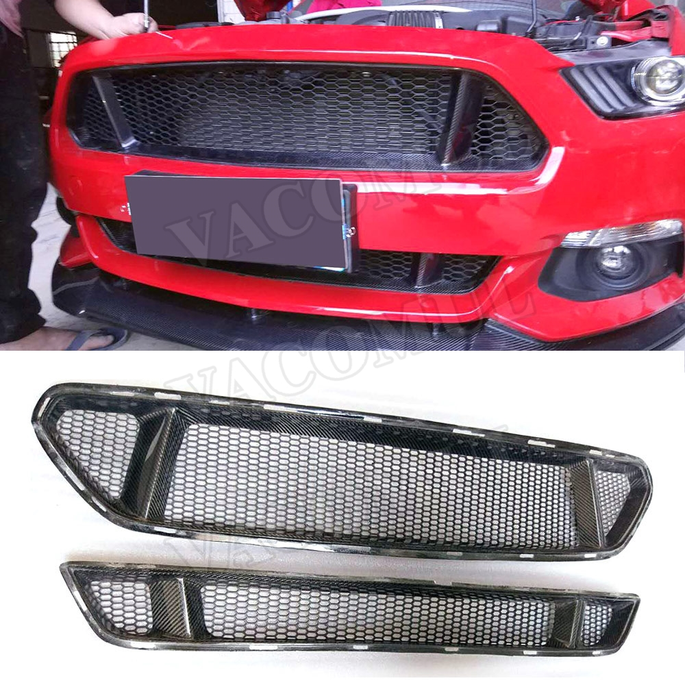 Real Carbon Fiber Car Front Bumper Mesh Grille Grills For Ford Mustang 2015 2016 2017 Car Styling grille