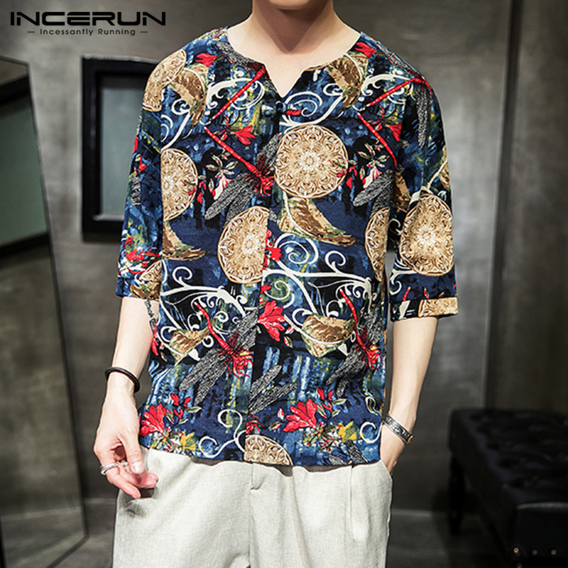 INCERUN Summer Vintage Print Mens Shirt Cotton V Neck Half Sleeve Casual Blouse Camisa Masculina Chinese Style Shirts Men 2020