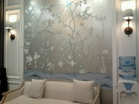 Classic style Luxurious Hand painted silver foil wallpaper painting flowers with birds many patterns and background optional