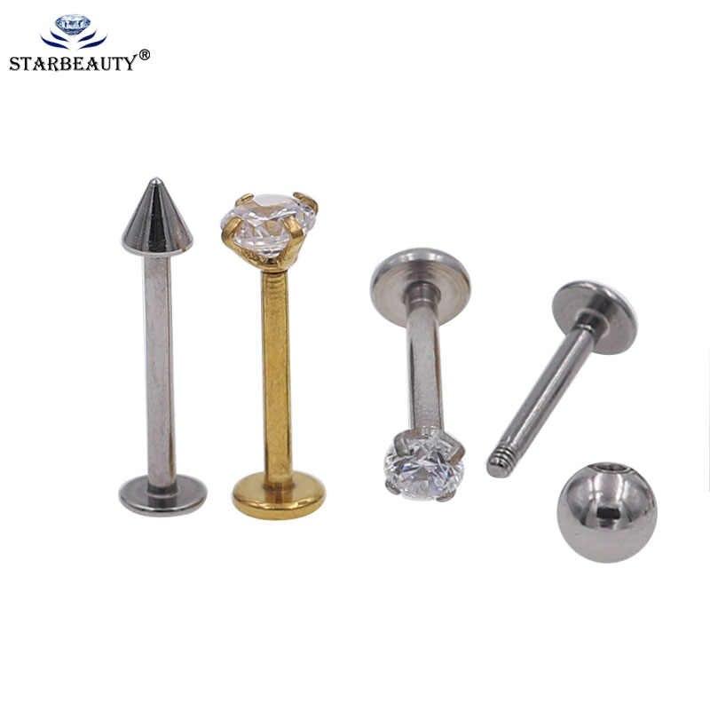 1PC Big size 1.2*8/10/12mm Steel Labret Lip Bar Ring Piercing Ear Cartilage Tragus Sexy Girl Body Jewelry Stud Women