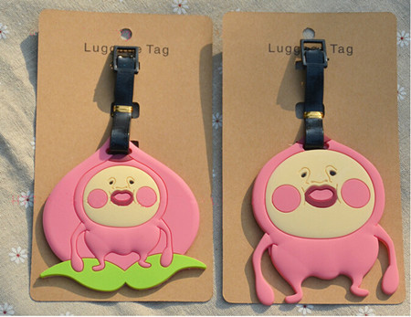 2pcs japan cartoon star peach spirit luggage tags farm schoolbag key chain ring to bag hanger toys gifts boys girls backpack
