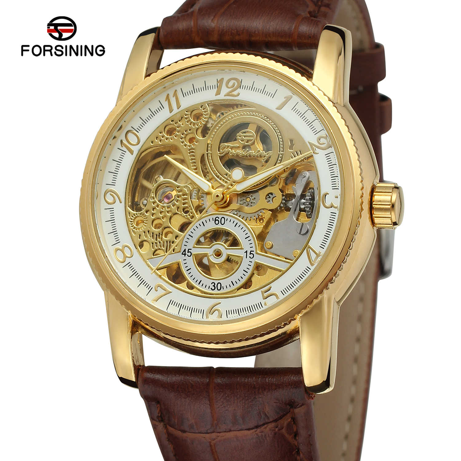 Fashion Forsining Hollow Engraving Skeleton Casual Designer Black Golden Case Gear Bezel  Men Luxury Brand Automatic Wrist Watch