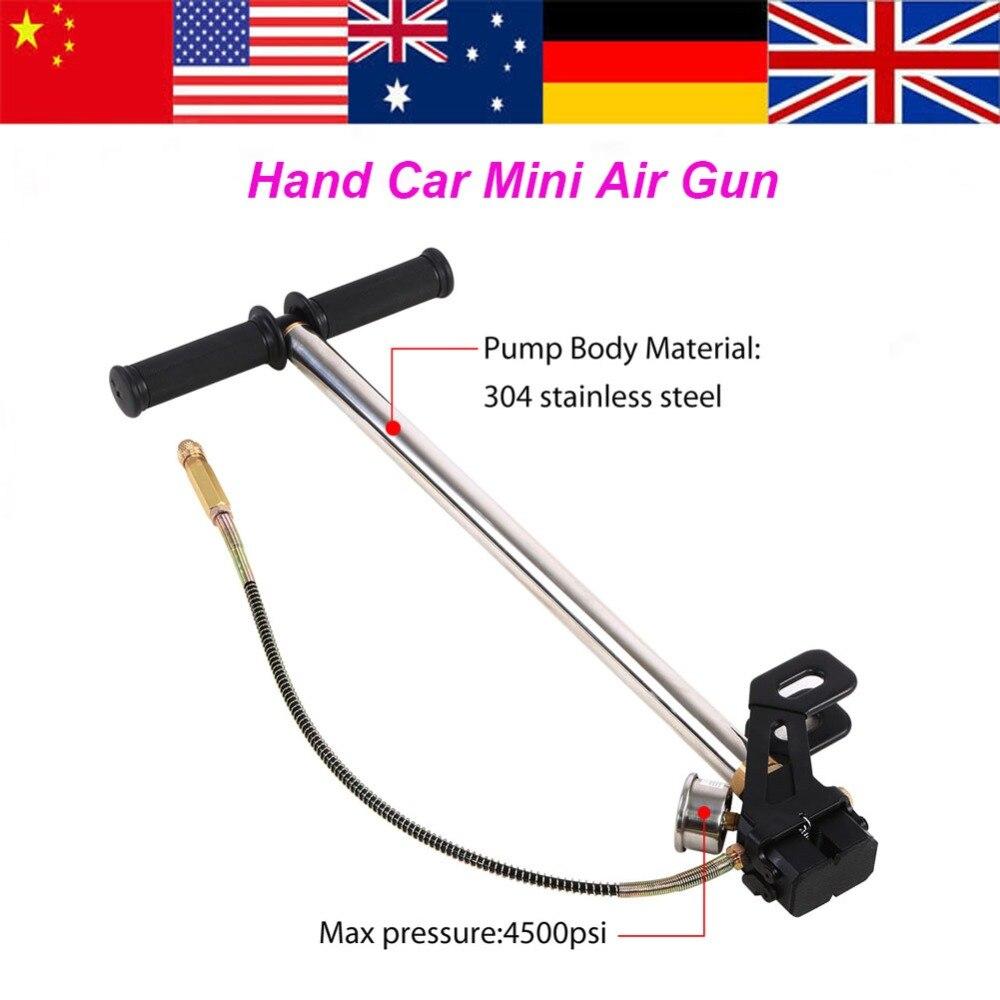 3 Stage Hand Operated Air pump Stirrup Charging Gas Filter Gauge Valve Hose High Pressure 4500psi