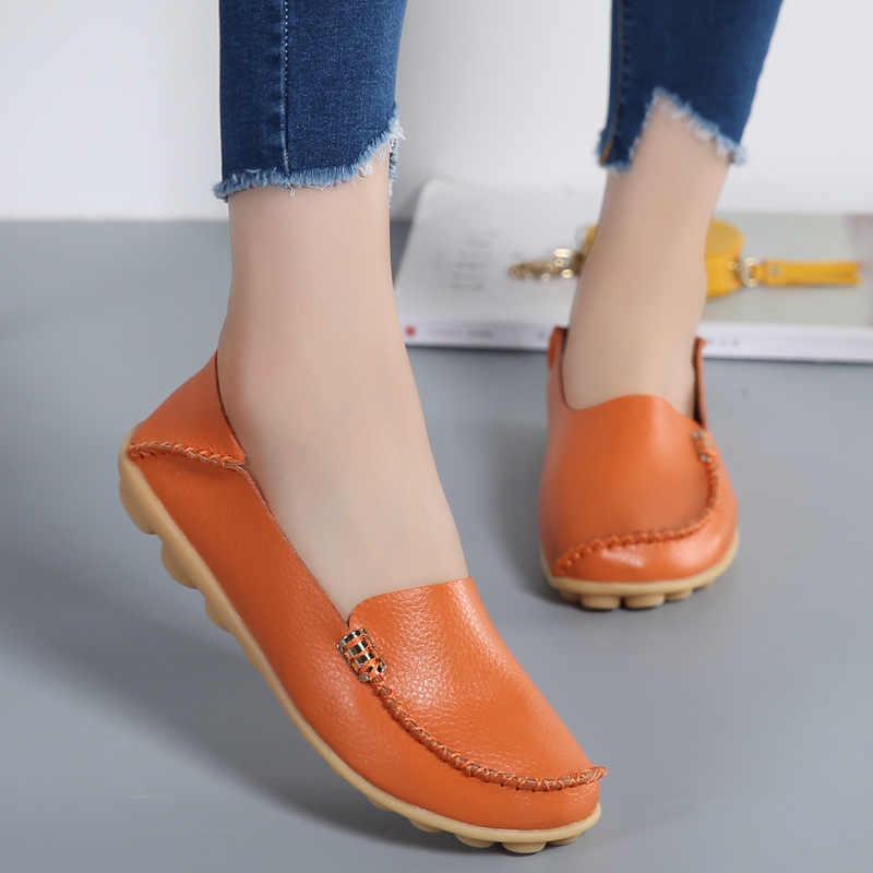 Frauen Wohnungen Echtem Leder 2017 Mode Frauen Schuhe Atmungs Slip-on Peas Massage Ballett Wohnungen Bonbonfarben