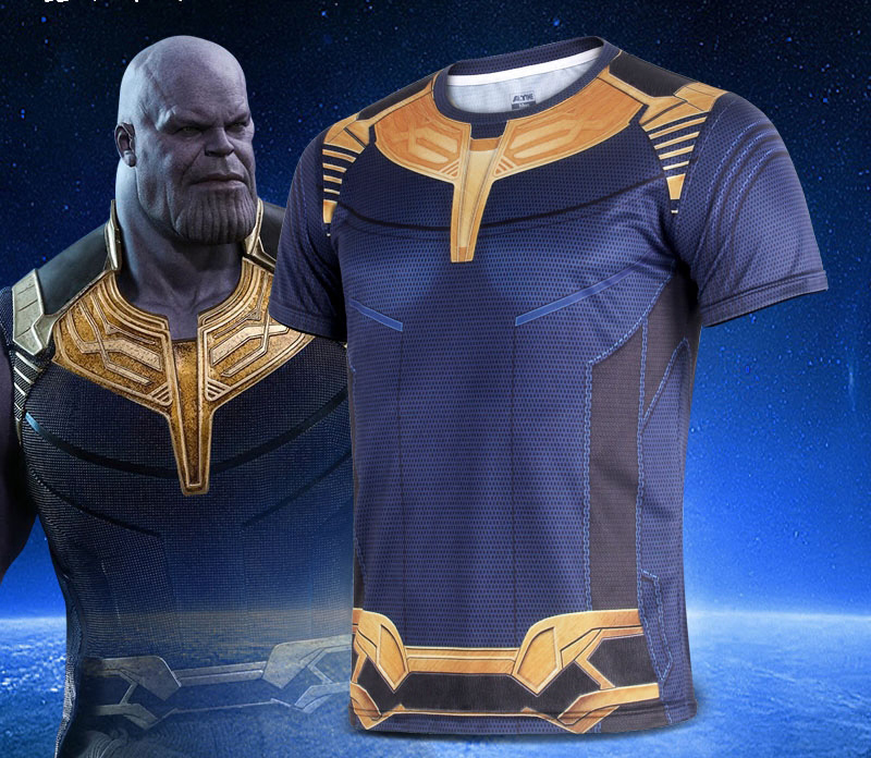 2018 Movie Avengers 3 Infinity War Thanos Cosplay T Shirts Pants Shorts Trousers Superhero Polyester Tee Shirts Tops Costume