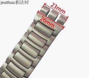Image 5 - Jeathus 見本鋼ストラップのための時計バンドの交換 YOS440 441 439 455 456 固体ステンレス鋼ブレスレット 23 ミリメートルヨーヨー腕時計バンド