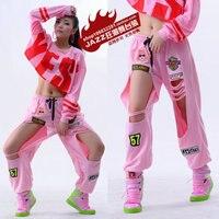 2015 Yeni moda Marka Sweatpants Kostüm giymek sahne Oymak Yamalar pantolon delik Pembe Harem Hip Hop Dans Pantolon