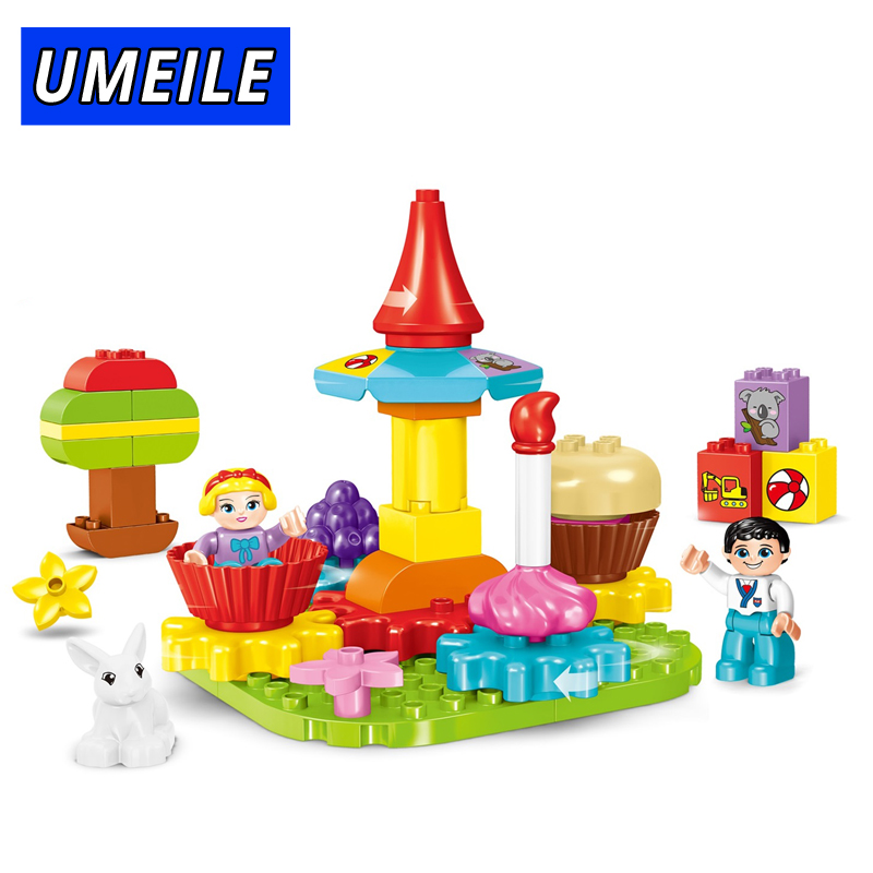 все цены на UMEILE 40PCS City Amusement Park Building Block Carrousel Diy Block Friends Figure Kids Toys Compatible With Legoing Duplo онлайн