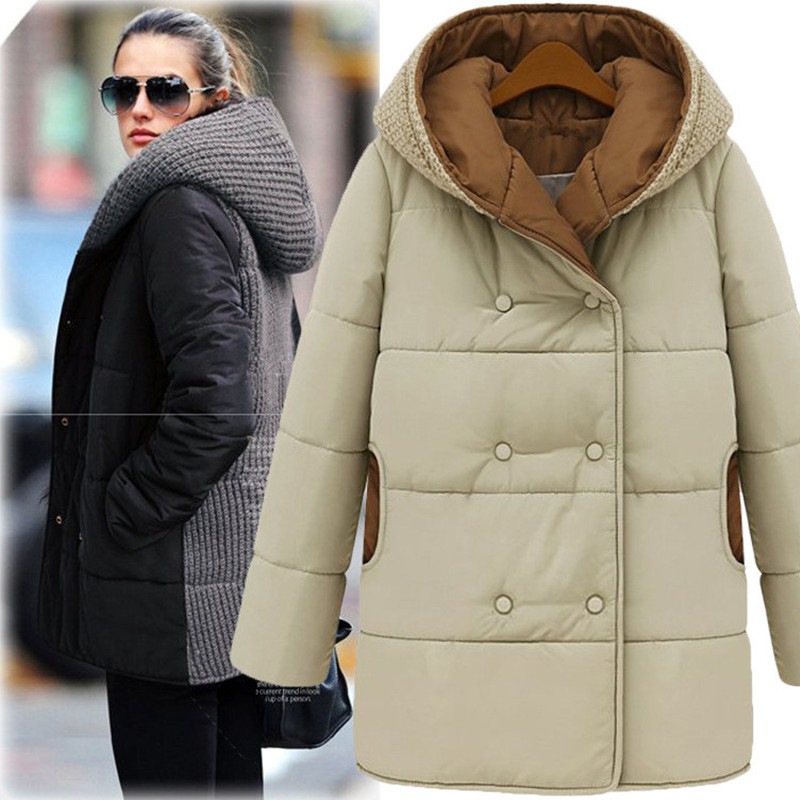 Large Size Women Winter New Knitted Stitch Hooded Cotton Padded Sweater Long Thick Cotton Jacket S-5XL Warm Parkas Mujer MZ1718 inc new brown pleated neckline women s size small s scoop neck sweater $49