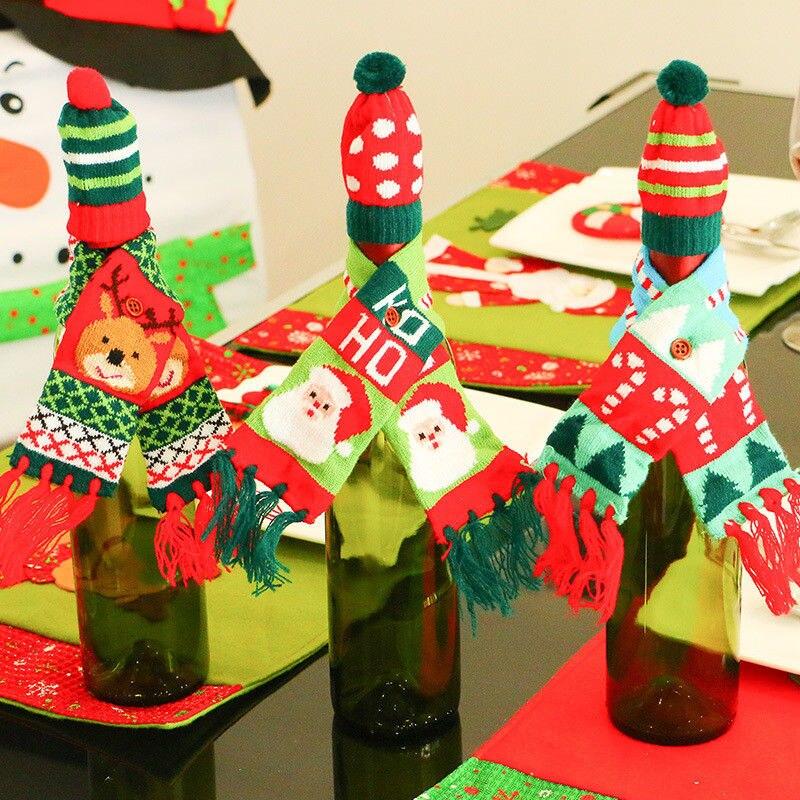 Nieuwe Mode Kerst Wijnfles Cover Huishoudelijke Tafel Hebben Romantiek Sfeer Party Decor Wrap Hoed Top Sjaal Gift Xmas