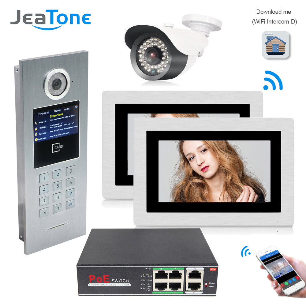 JeaTone 7inch WiFi IP Video Door Phone Intercom Home Access Control System Password/RFID Card + POE Switch+IP Camera Support IOS