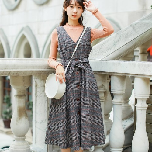 Autumn And Winter Sleeveless Long Women Dress Plaid Preppy Style Bow V neck Dresses Wool Vintage Artistic Dress Woman