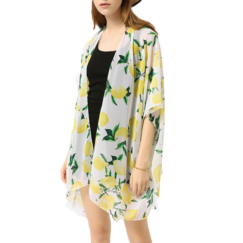 feitong 2018 New Hot Sale Spring Summer Women Fashion Sexy Chiffon Cardigan Printed Shawl Coats Beach Cover Up Blouse Clothes ...