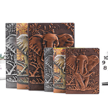 Cuaderno de cuero retro A5 cuaderno de notas A6 con relieve de elefante europeo para diario de viaje, negocios, oficina, suministros escolares