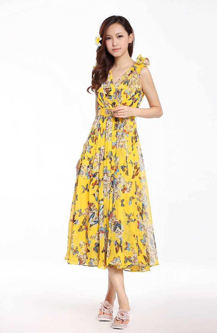 2017 New Fashion Women 100 Silk Casual Brand Long Dress Maxi Yellow Fl Flower Print Party Evening Belt In Dresses From S