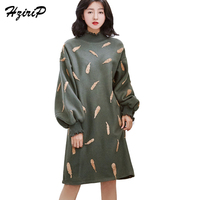 HziriP 2017 Pena Solta Bordado Alargamento Vestidos de Manga Longa Vestido de Inverno Mulheres de Grande Porte Nova Pulôver Gola de Babados Vestido
