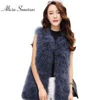 2017 Autumn Winter New Ostrich Fur Coat Women Vest Warm Wool Vest Turkey Long Short Women