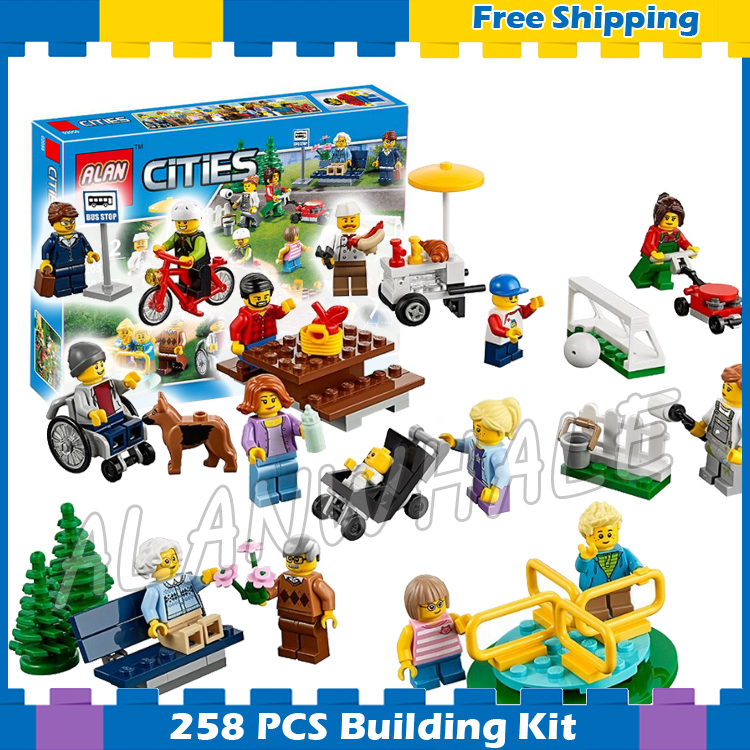 258pcs New City Town Fun in the Park People Pack 02058 Model Building Blocks Children Assemble Gifts sets Compatible With lego
