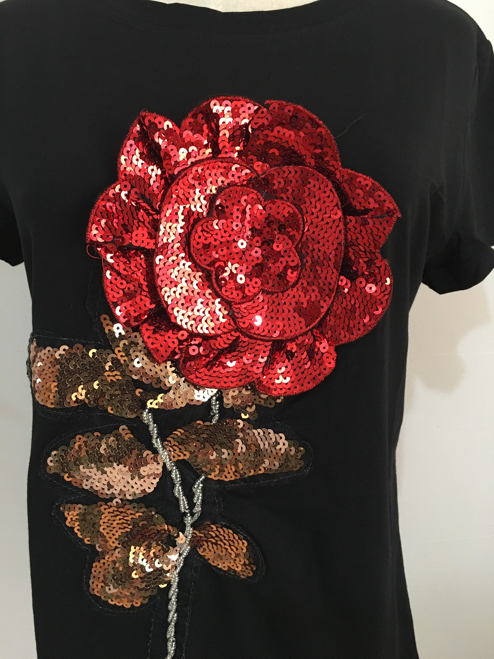 HTB1ZyG3SpXXXXbcXpXXq6xXFXXXF - New Summer women t shirt fashion cotton female rose flower tops t-shirt