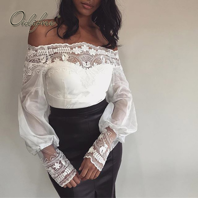 c3d369a9466 Ordifree 2018 Summer White Lace Blouse Long Sleeve Sexy Mesh Female Blouse  Shirt Off Shoulder Top Chemise Femme