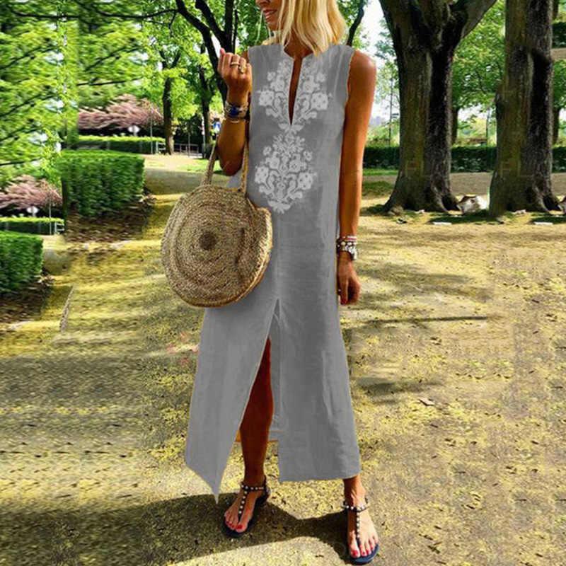 EaseHut без рукавов женские летние сарафаны ретро принт V-образным вырезом с разрезом цельный кафтан макси платье Boho свободные свободного покроя длинное платье 2019