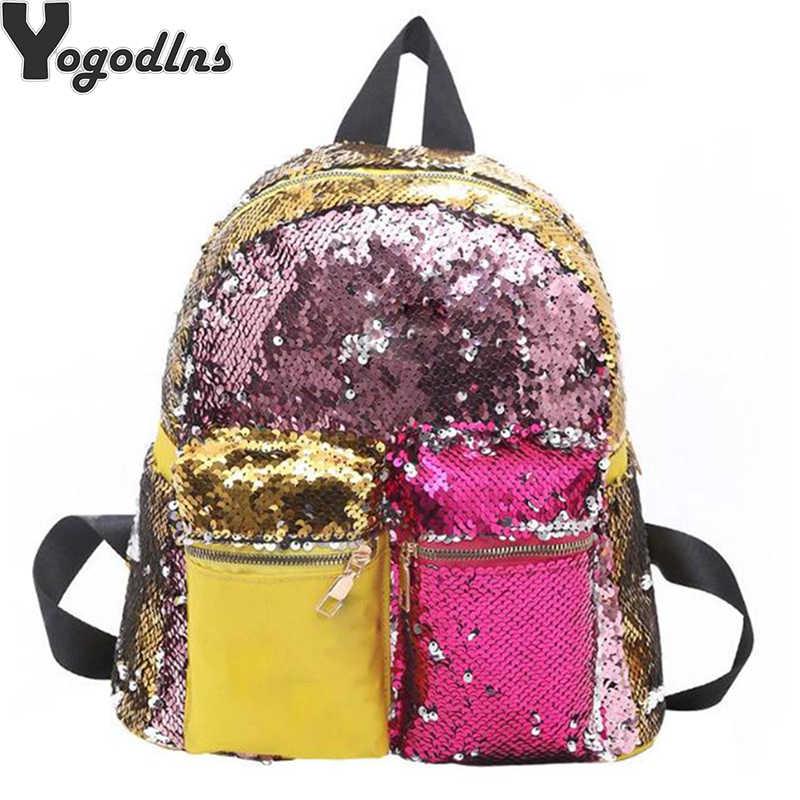 2019 новые женские рюкзаки модные разноцветные блестки ранец девушка блестящая дорожная школьная сумка в стиле кэжуал дамы Контрастный ЦВЕТНОЙ рюкзак
