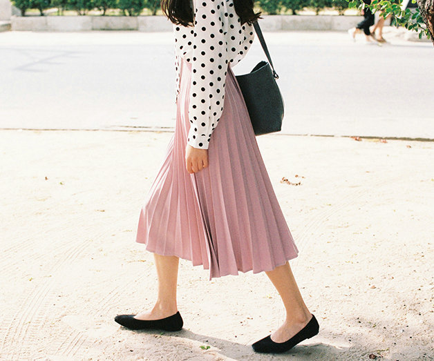 A-Line Pink Gray Black Pleated Skirt 4