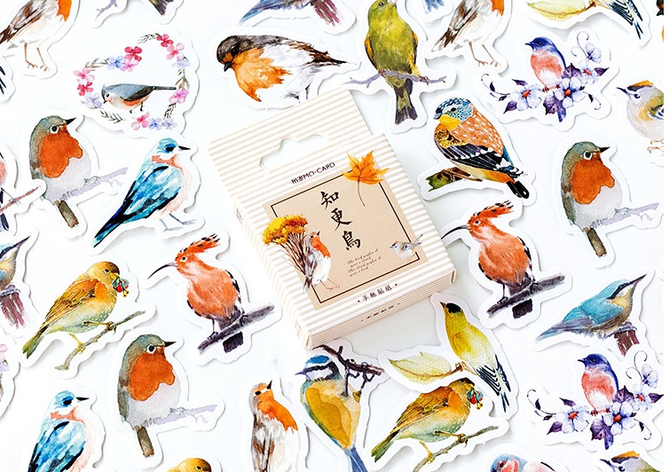S21- Colorful Bird Diy Decorative Stickers(1pack=45pieces)