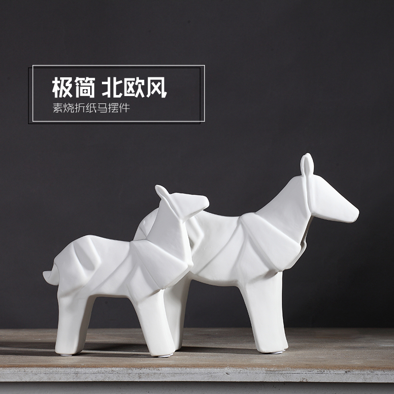 White concise ceramic horse war horse horse home decor for Horse decorations for home