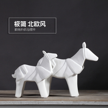 white simple ceramic horse War Horse home decor crafts room decoration ornament porcelain animal figurines decorations