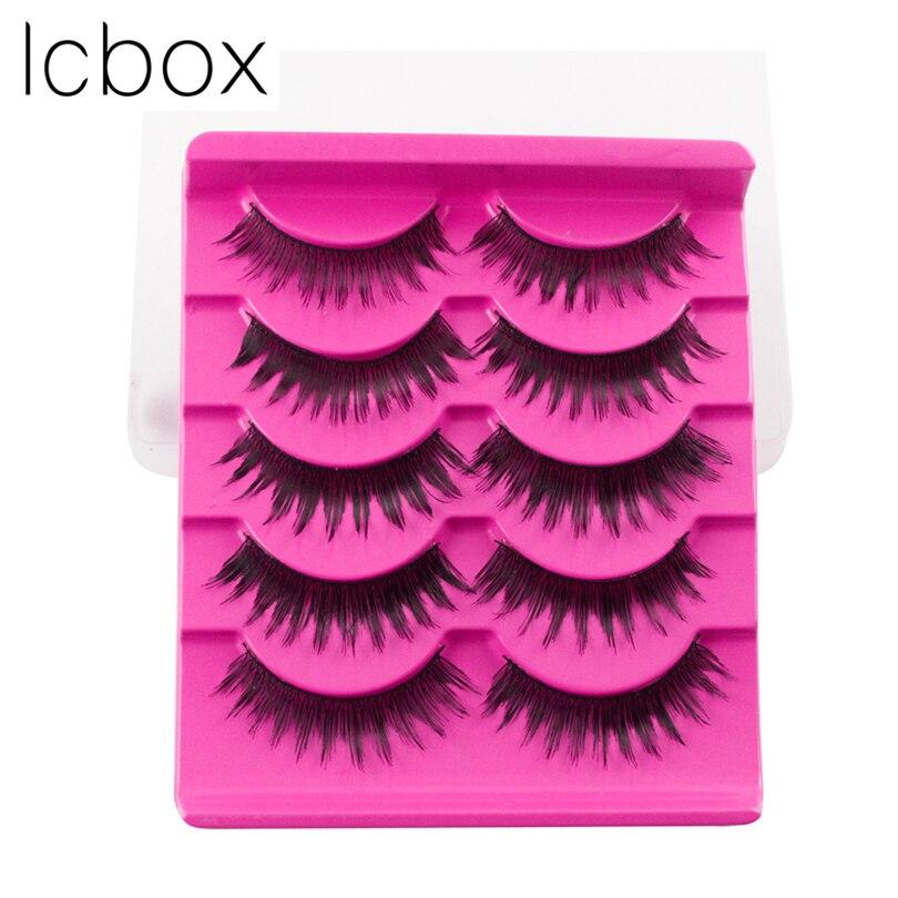 LCBOX 5 Pairs New Black Cross Human Hair False Eyelashes Soft Long hankmade Makeup Eye Lashes Extension Tools