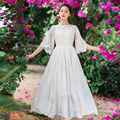2017 flare sleeve princess dress slit neckline solid color dress sweet slim waist embroidery full lace dress Vestidos
