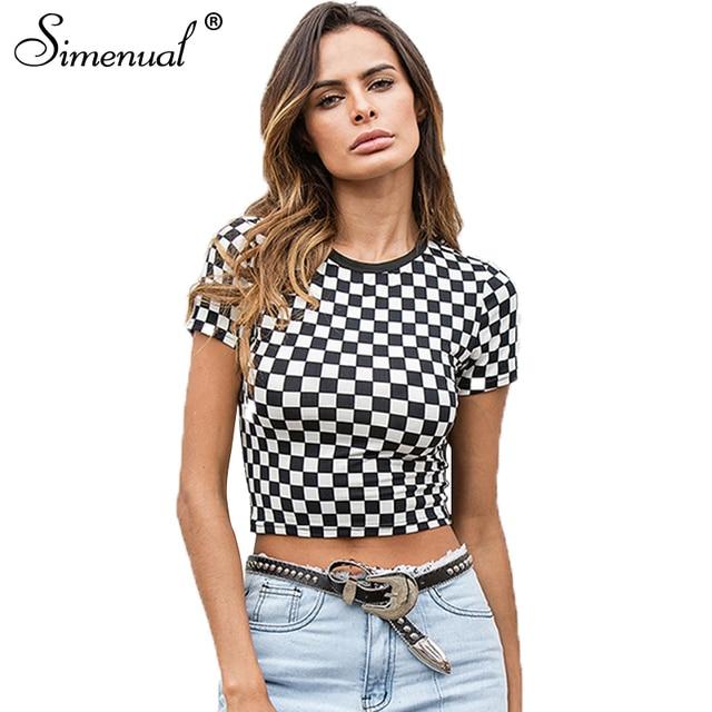 a0facdcf224 Simenual damier été haut court 2018 mode plaid femme t-shirt noir blanc  slim sexy