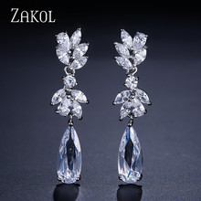 ZAKOL White Gold Plating Austrian Flower Shape Zircon Water Drop Crystal Pendant Earrings For Bridal Jewelry FSEP050