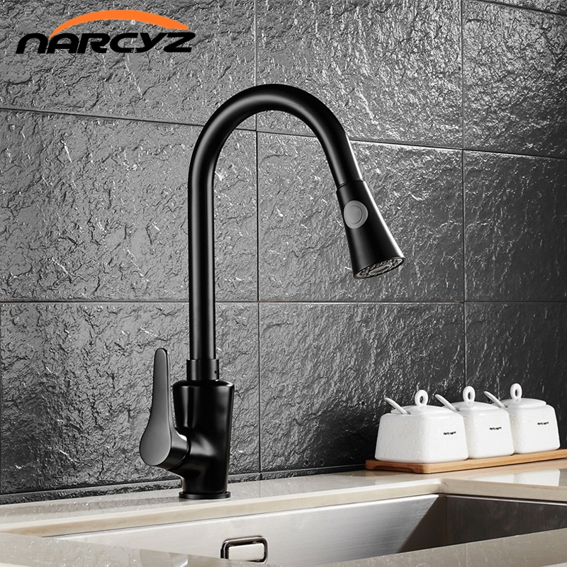 Kitchen Faucets Brass Black Pull Out Kitchen Mixer Tap 2 Way Function Water Mixer Deck Mounted Single Handle Sink Crane XT-64 gappo kitchen sink mixer tap kitchen faucet mixer single hole deck mounted kitchen faucets tap mixer crane torneira para cozinha