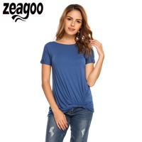 Zeagoo Women O Neck Raglan Short Sleeve Solid Irregular Hem T Shirts 2017 Summer Fashion Casual