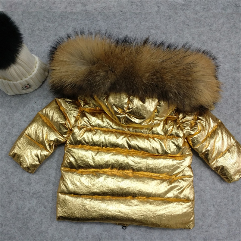 Custom Made Gold Silver Winter Warm Baby Boys Girls Coat Children White Duck Down Jacket with Big Fur Collar xyf8882 boys girls winter down jackets kids big fur collar thicken winter jacket warm outerwear long coat 85% white duck down