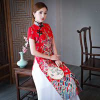 New Folk style vietnam traditional robes aodai graceful stand collar elegant improved qipao dragon pattern long cheongsam dress