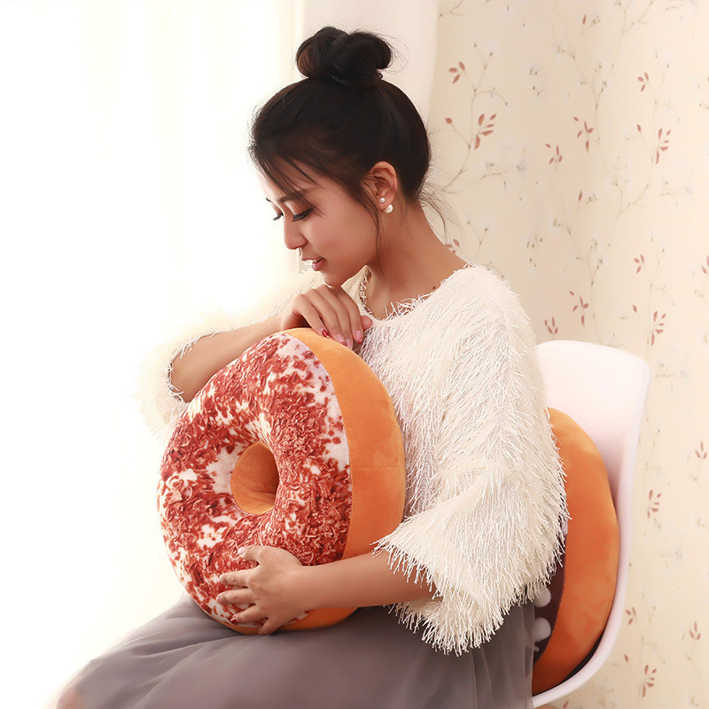 Cute Donuts Pillow Christmas Chocolate Cushion Sofa Decorative Soft Plush Pillow Car Seat Pad Christmas Gift With Filling Kids