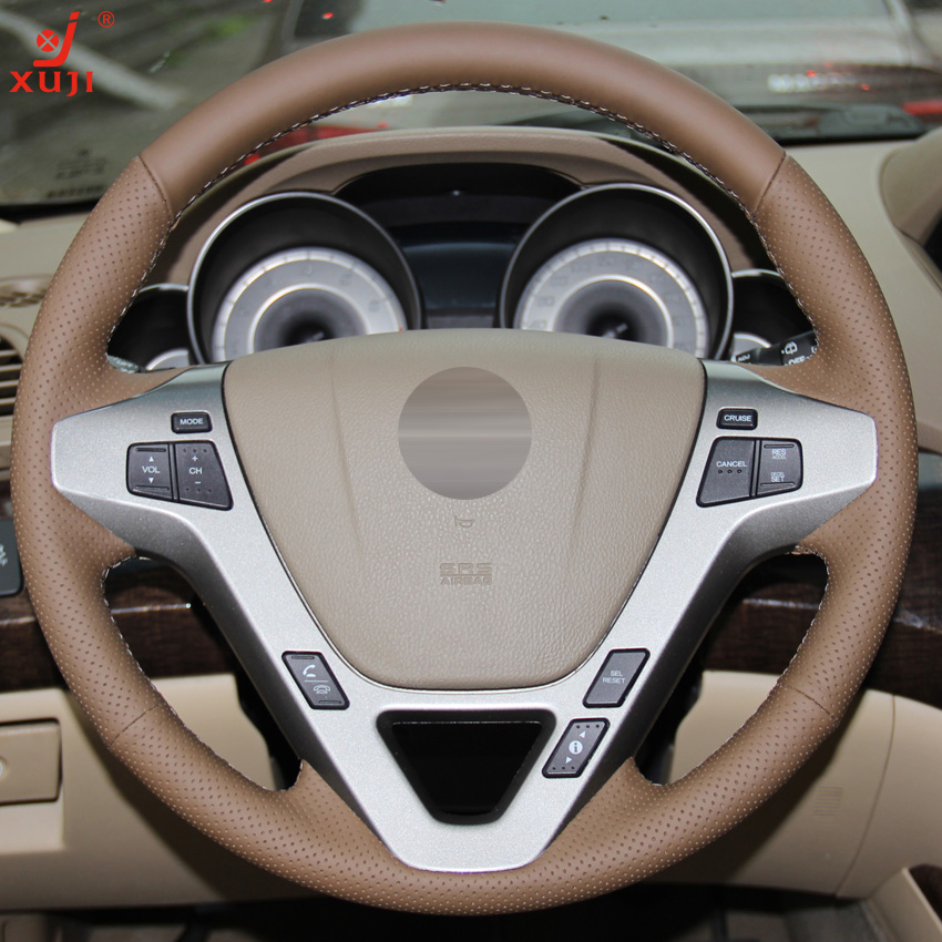 XUJI Dark Brown Genuine Leather Hand Stitched Car Steering