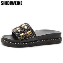 a0bd99d4d337d1 Fashion 2018 Women Slides Crystal Slippers Summer Shining Glitter Bling  Slides Flat Basic Beach Sandals Sliver Gold Shoes Woman