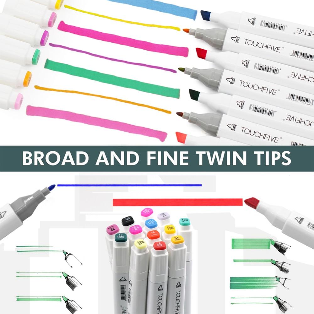 Image 2 - Marqueur stylo TouchFive 48/60/80/168 couleurs double pointe Art fournitures marqueur dalcool pour dessiner croquis adulte et enfants pour lanimationMarqueurs à dessin   -
