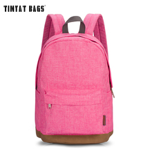 Tinyat mujeres de la lona mochilas escolares para adolescentes niñas mochilas para chicas 14 pulgadas portátil mochila estudiante ocasional t101 rosa