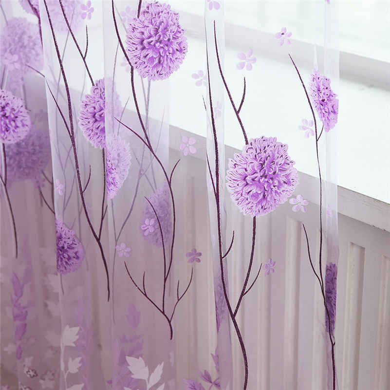 1pcs Tulle Curtains Modern  window flower Curtains for Living Room Transparent Tulle Curtains Window Drapes Sheer for Bedroom L4
