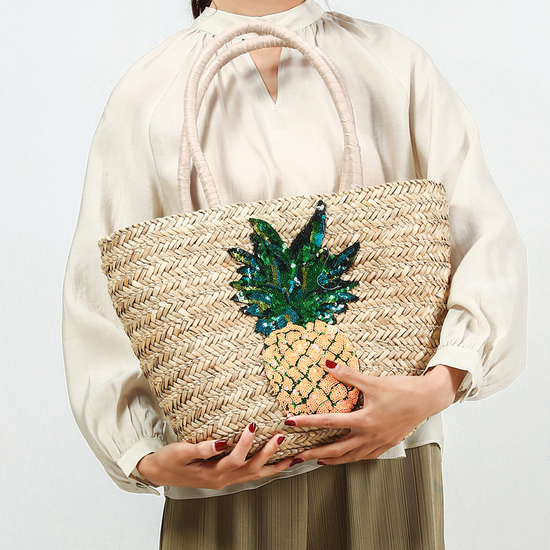 Sequined Bling Pineapple Pattern Large Straw Tote Bag Women Riffia Causal Shoulder Bucket Basket Bag Woven Handmade Lady Handbag