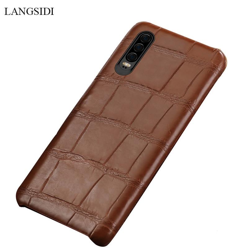 LANGSIDI Véritable crocodile En Cuir téléphone étui pour Huawei p30 Lite Naturel en cuir de crocodile véritable pour Huawei P30 pro