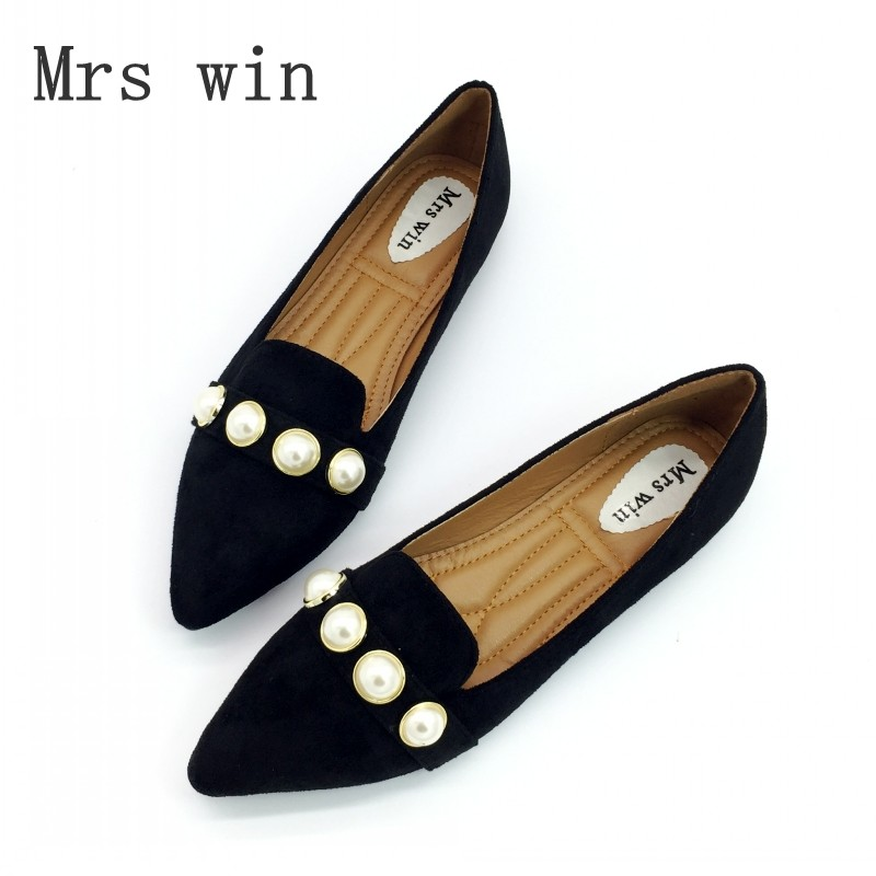 Spring Autumn Woman Flats Shoes Casual Loafers Slip On Women Square Toe Pearl Flock Single Shoes Ladies shoes Plus Size Black memunia 2017 fashion flock spring autumn single shoes women flats shoes solid pointed toe college style big size 34 47