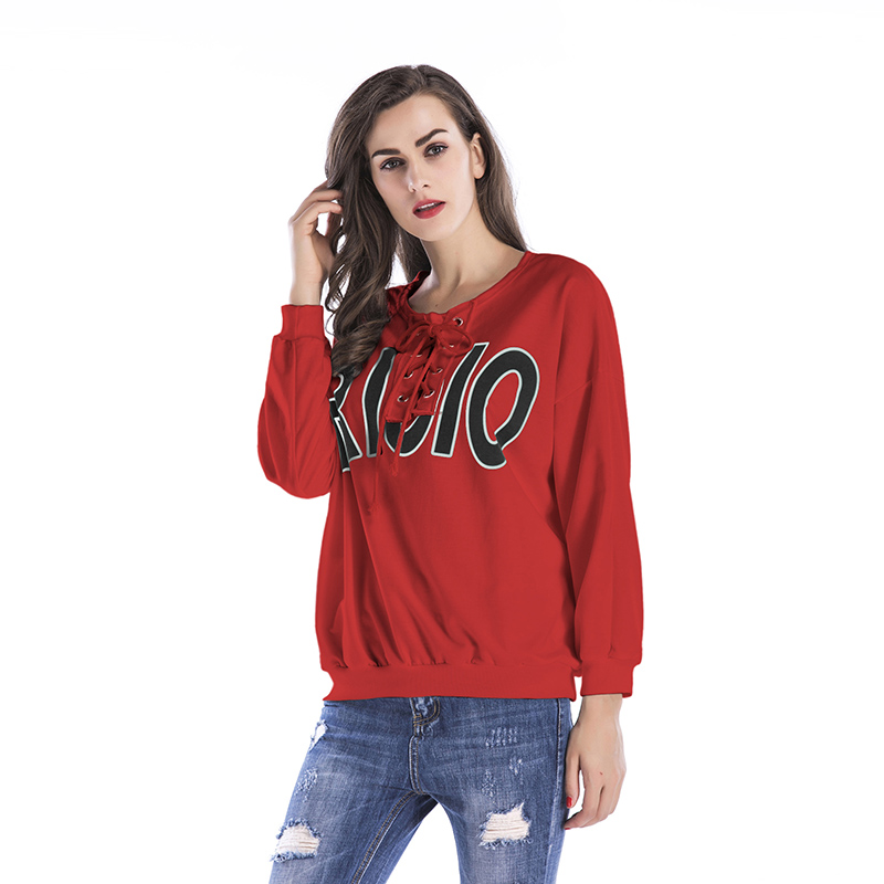 Spring And Summer New Style Tied Rope Letters Printed Loose Round Neck Collar Europe And America Large Size Sweatshirt