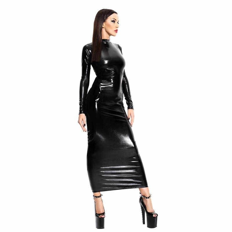 b86d55e60fe36 PVC Latex Dress Black Sexy Long Sleeve Erotik Leder Kleid Backless Bandage  Leather Dress Women Bodycon Clubwear Dress