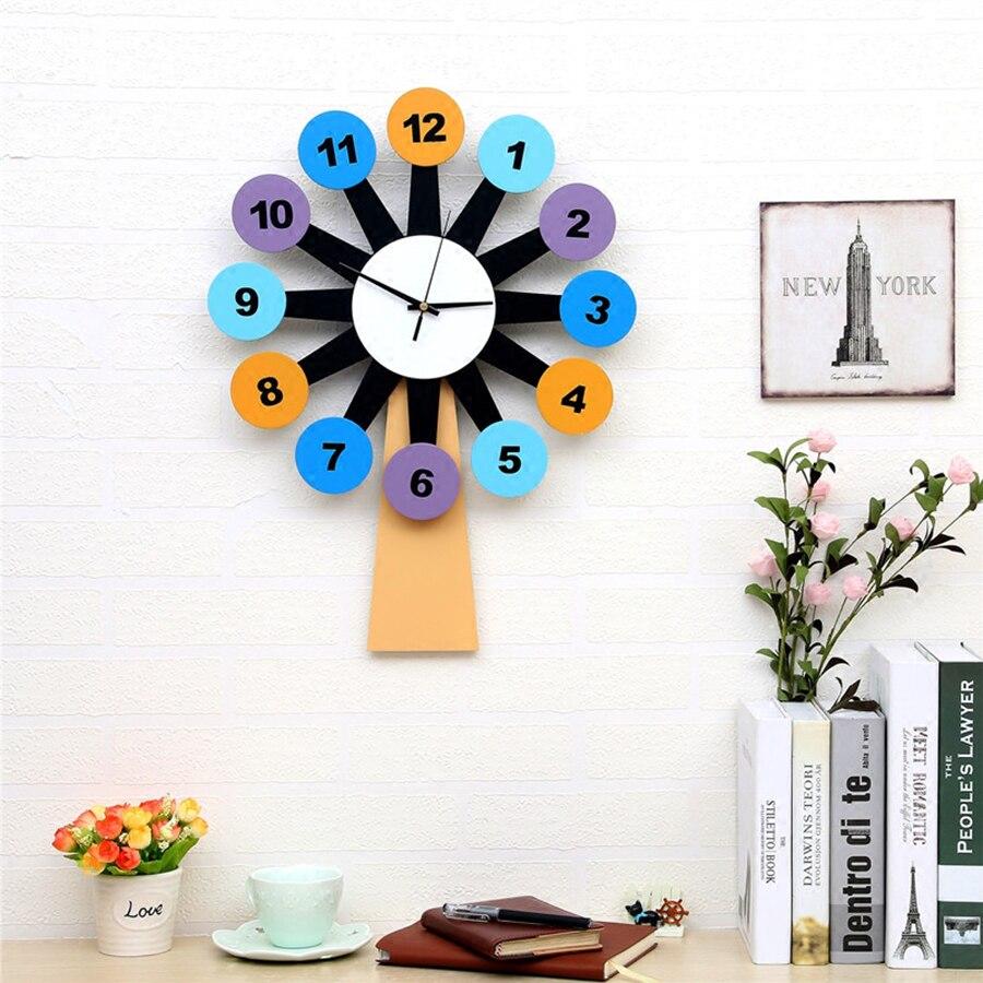 Arbre montres horloges Vintage bois chambre horloge Sticker mural numérique moderne en bois horloges murales créatif abstrait enfants horloge 5